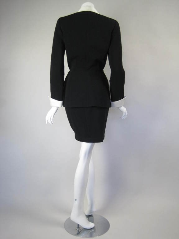 Vintage 1990's Thierry Mugler Black Faille Suit with Satin Details