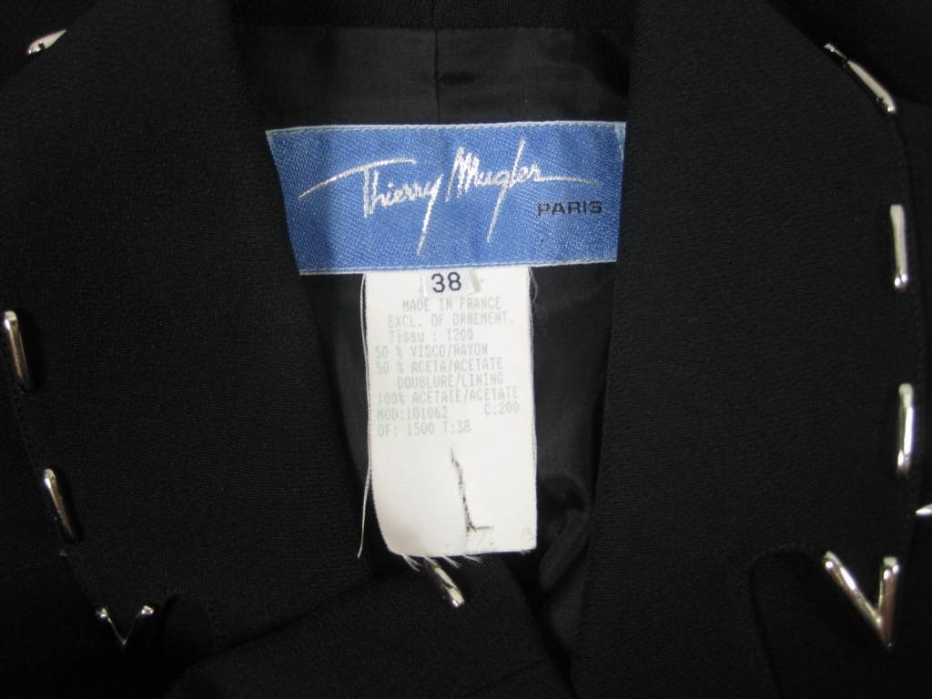Thierry Mugler Skirt Suit 1990's with Metal Studded Details Vintage - regenerationvintageclothing
