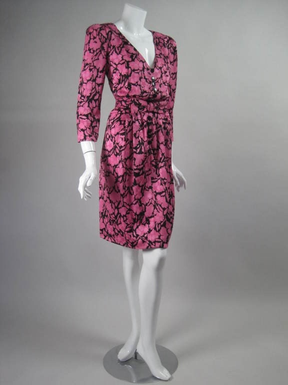 Oscar de la Renta Dress Pink Cocktail Vintage - regenerationvintageclothing
