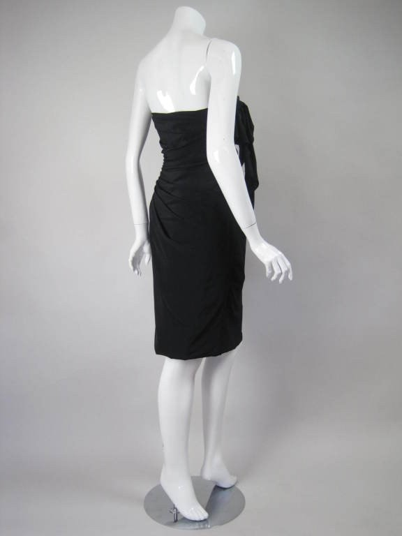 Ungaro Cocktail Dress 1980's Strapless Silk Dupioni Vintage - regenerationvintageclothing