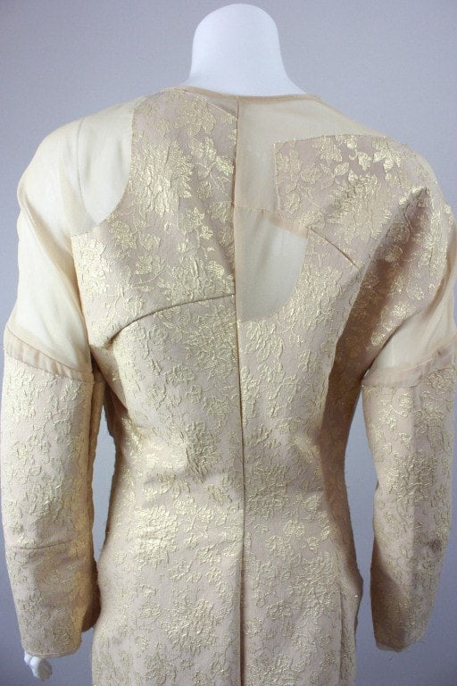 Comme des Garçons Coat 1997 Gold Brocade & Net Coat Vintage - regenerationvintageclothing