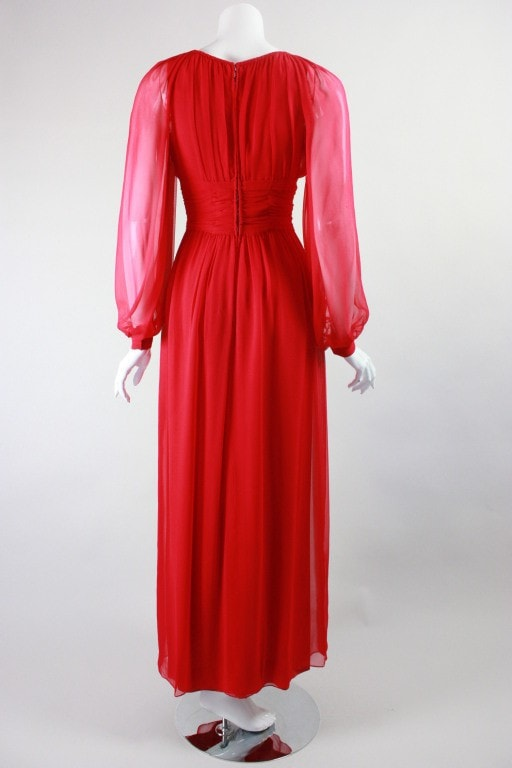 Jean Louis Gown 1970's Red Chiffon Vintage - regenerationvintageclothing
