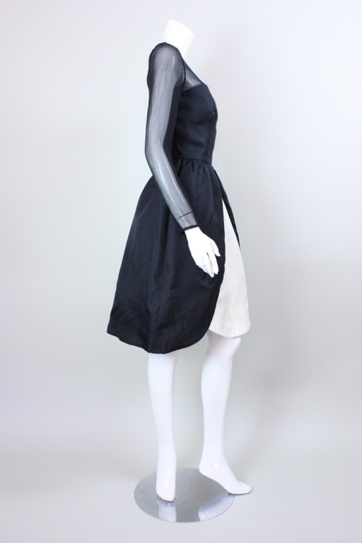 Bill Blass Cocktail Dress 1980's Black & White Vintage - regenerationvintageclothing