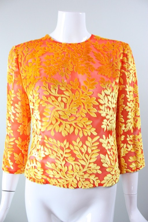 Versace Blouse 1990's Brightly-Colored Cut Velvet Vintage - regenerationvintageclothing