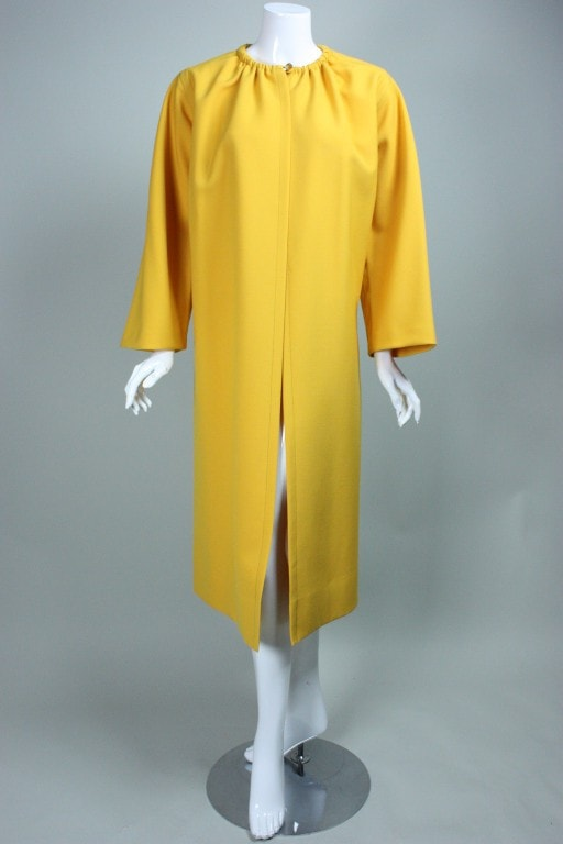 Vintage 1980's James Galanos Yellow Wool Overcoat
