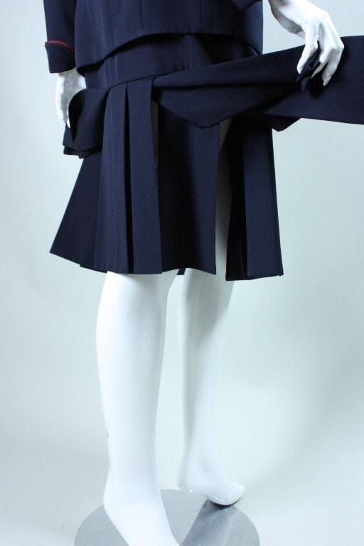 Karl Lagerfeld Skirt Suit 1990's with Carwash Hem Vintage - regenerationvintageclothing
