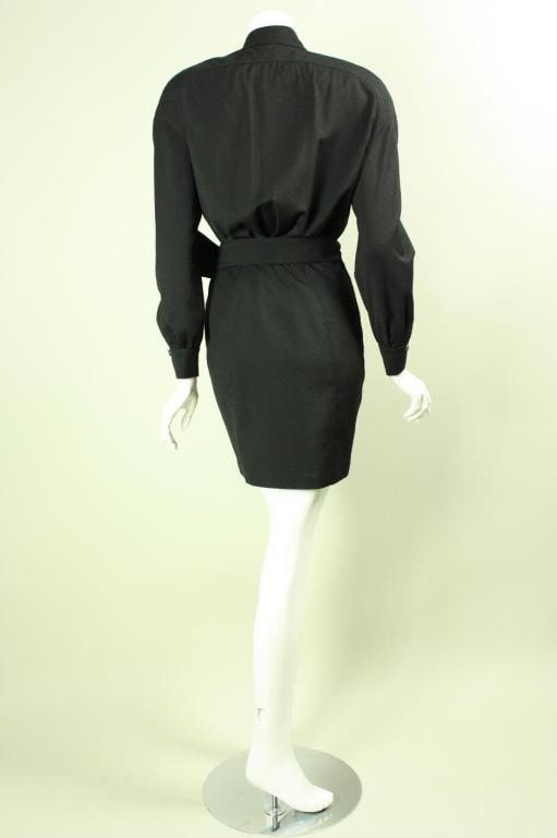 Vintage 1980's Thierry Mugler Black Gabardine Dress with Chain Hardware