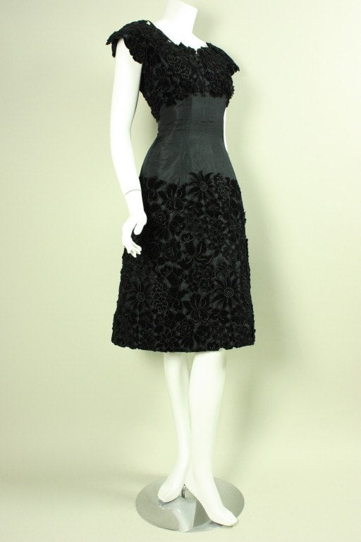 Vintage Dresses - Vintage 1950's Maxwell Shieff Appliqued Cocktail Dress