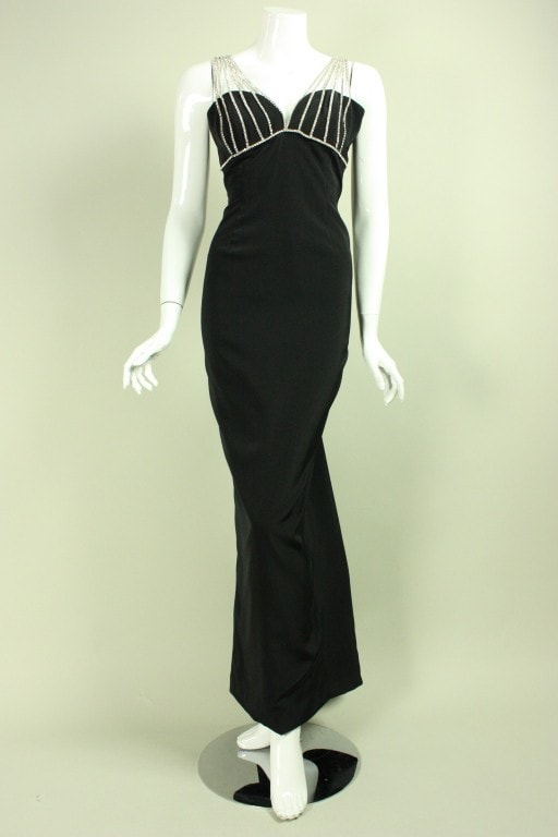 Vicky Tiel Gown 1990's With Rhinestone Cage Bust Vintage - regenerationvintageclothing