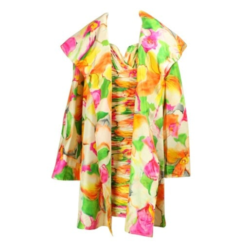 Vintage Dresses - 1990's Vicky Tiel Floral Dress & Coat Ensemble