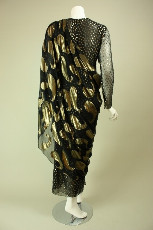 Bill Blass Evening Gown 1980's Gold Lamé Vintage - regenerationvintageclothing