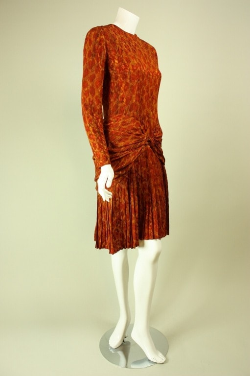 Bill Blass Dress 1980's Leopard Print Silk Vintage - regenerationvintageclothing