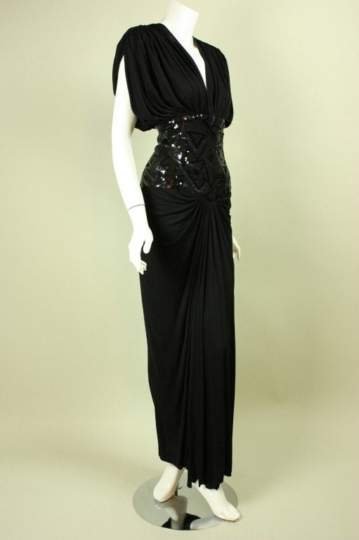 Marc Bouwer Gown 1980's Draped Vintage - regenerationvintageclothing