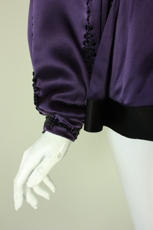 Galanos Blouse 1980's Purple Silk Beaded Vintage - regenerationvintageclothing