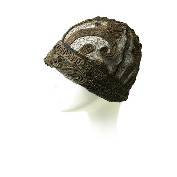 Vintage Clothing: 1920's Gold Bullion & Lace Cloche