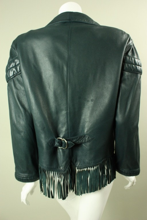 Vintage 1980's Claude Montana Fringed Leather Jacket