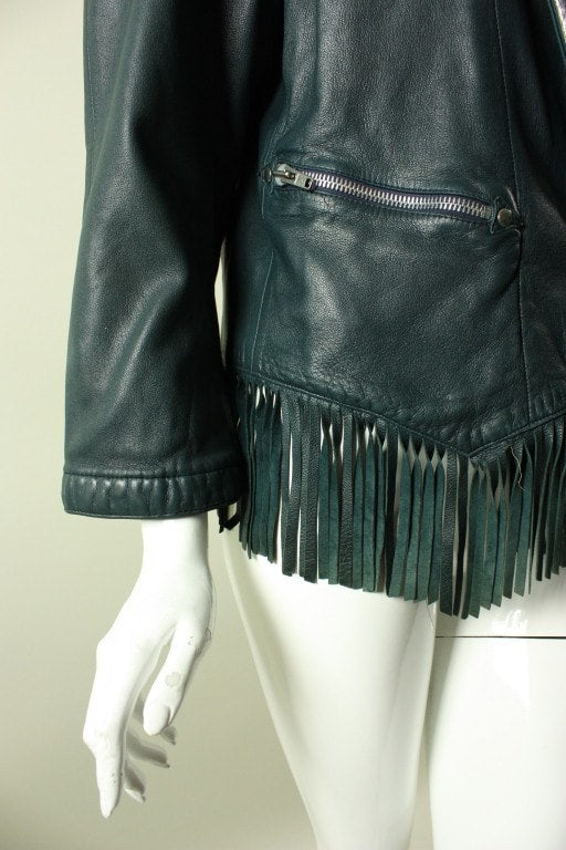 Claude Montana Jacket 1980's Fringed Leather Vintage - regenerationvintageclothing