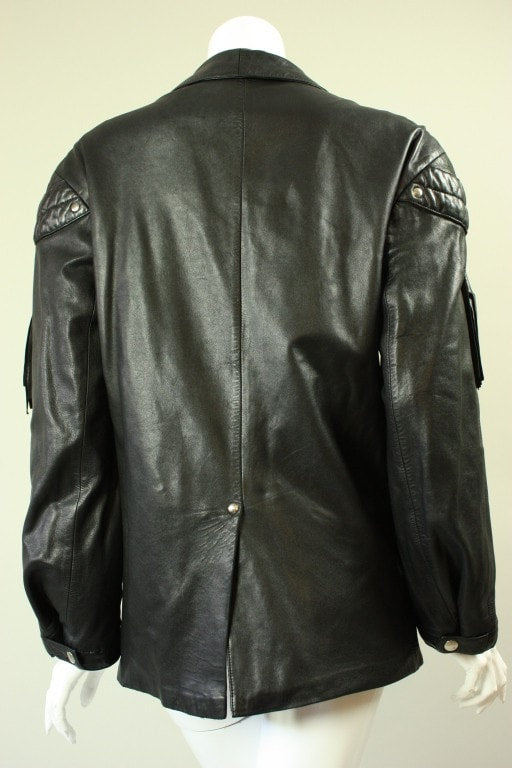 Claude Montana Jacket 1980's Black Leather Vintage - regenerationvintageclothing