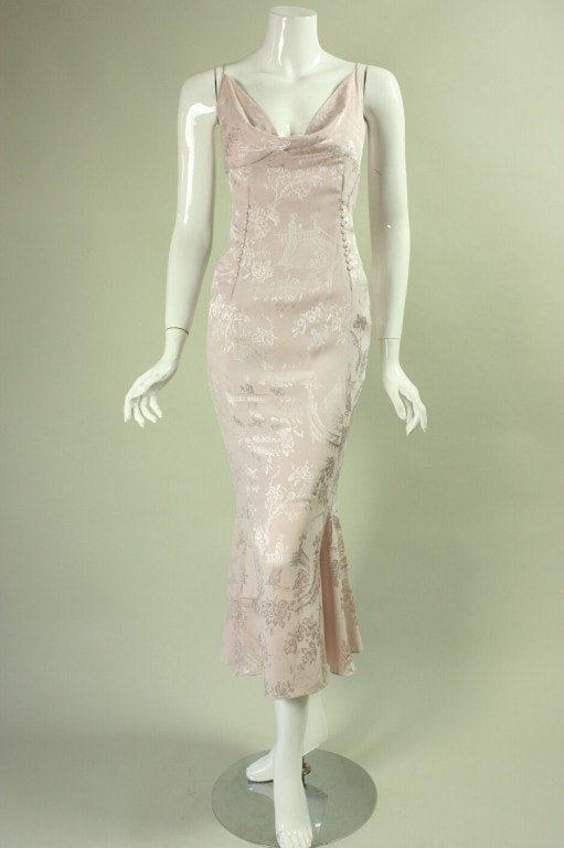 Vintage Dresses - Vintage 1990's John Galliano Pink Silk Cocktail Dress with Cowl Neckline