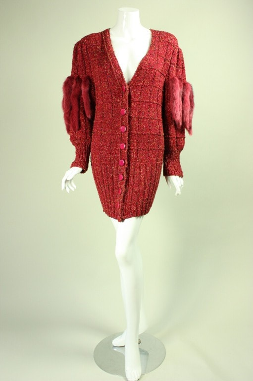 1980's Sweater Metallic With Dyed Mink Sleeve Details Vintage - regenerationvintageclothing