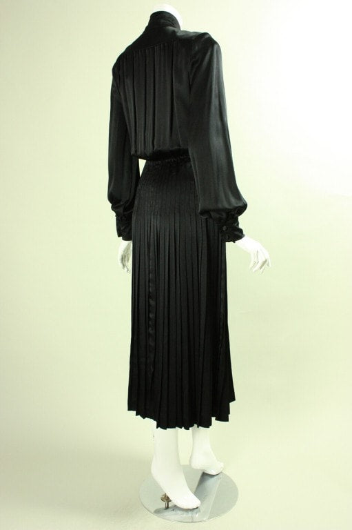 Vintage 1980's Jean-Louis Scherrer Pleated Silk Dress