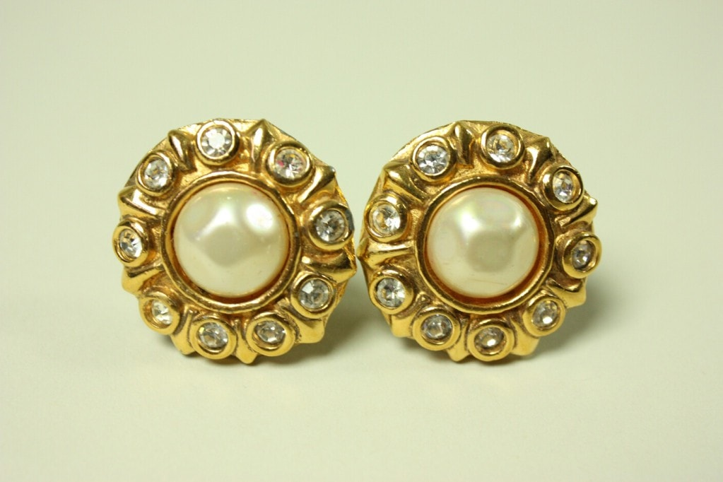 Chanel Earrings 1980's Rhinestone & Pearl Vintage - regenerationvintageclothing