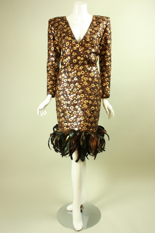 Vintage Dresses - Vintage 1980's Givenchy Sequined And Feathered Dress