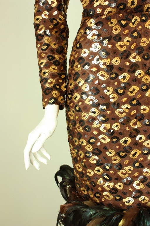 Givenchy Dress 1980's Sequined And Feathered Vintage - regenerationvintageclothing