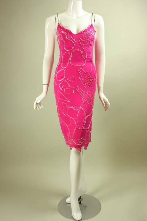 Vintage Dresses - Vintage 1990's Fabrice Hot Pink Beaded Dress & Shawl