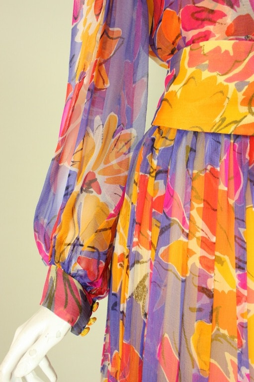 Vintage 1980's Givenchy Silk Chiffon Floral Gown