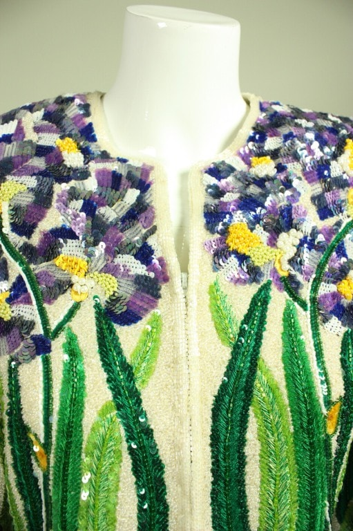 Vintage 1980's Naeem Khan For Riazee Sequined & Embroidered Jacket
