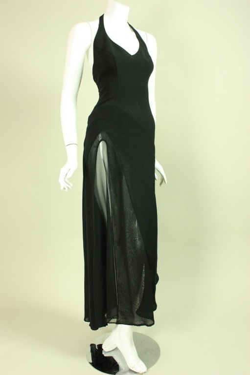 Vintage 1990's Thierry Mugler Gown with Transparent Insert