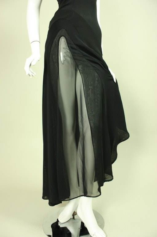 Thierry Mugler Gown 1990's with Transparent Insert Vintage - regenerationvintageclothing