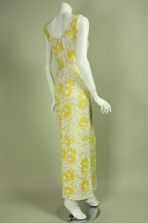 Vintage 1950's White & Yellow Floral Sequined Gown