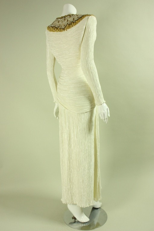 Mary McFadden Couture Gown 1980's Pleated Ivory Vintage - regenerationvintageclothing