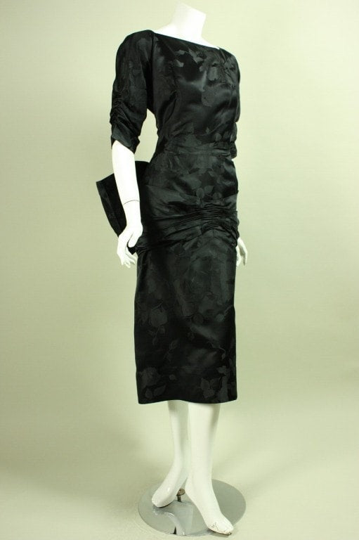 Vintage Dresses - Vintage 1950's Irene Black Jacquard Dress