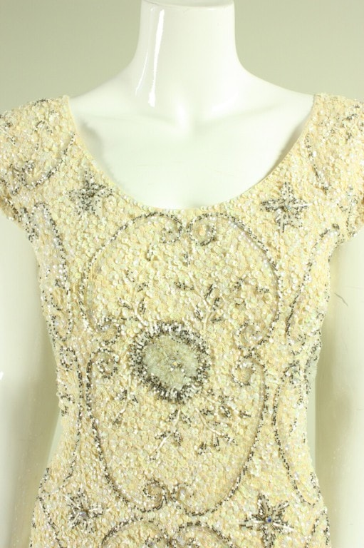 Vintage 1950's Gene Shelly Cream-Colored Beaded Dress