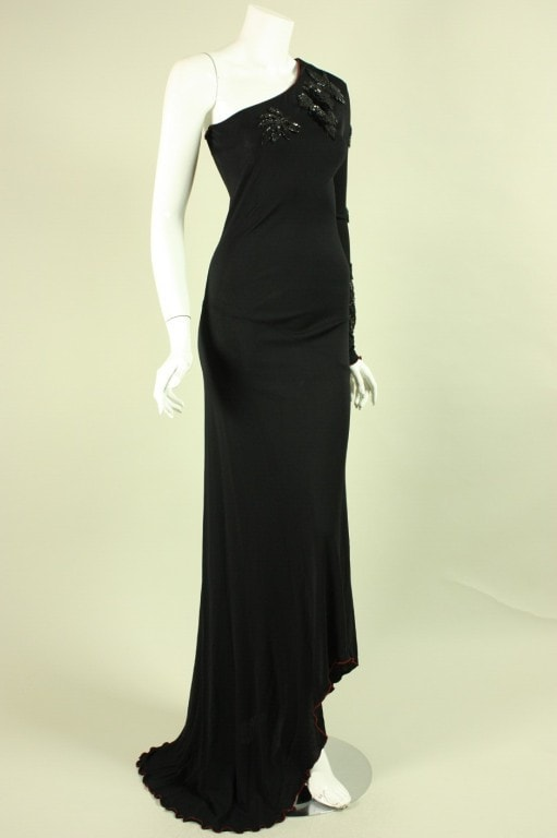 Stephen Burrows Gown 1970's One-Shouldered VTG - regenerationvintageclothing