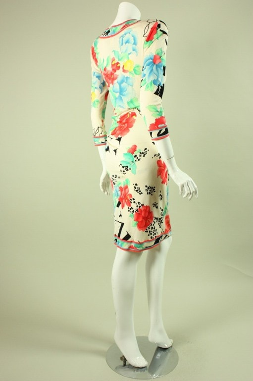 Leonard Dress 1980's Ruched Silk Jersey Vintage - regenerationvintageclothing