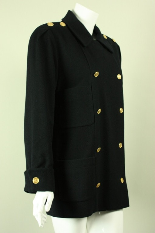 Chanel Pea Coat 1980's Military-Style Double-Breasted Wool Vintage - regenerationvintageclothing