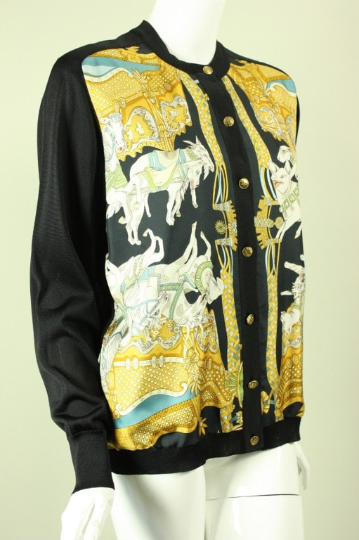 Hermès Cardigan 1980's Silk With Animal Print Vintage - regenerationvintageclothing