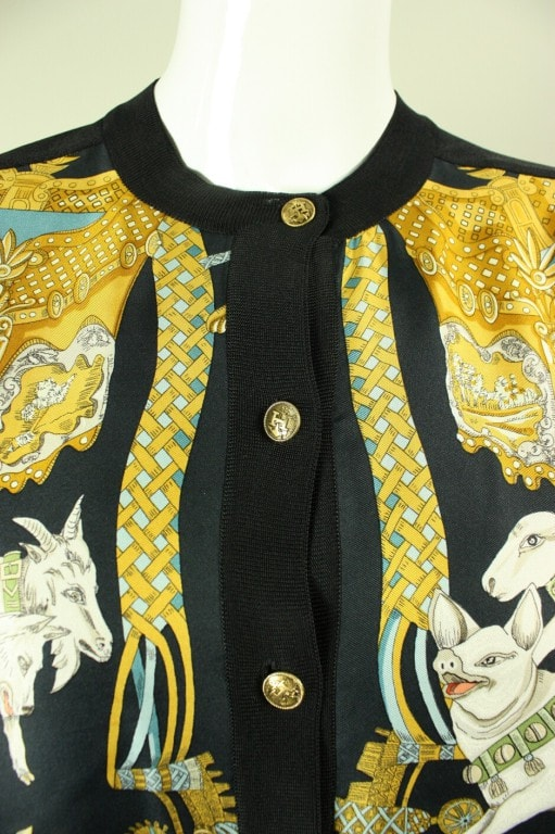 Vintage 1980's Hermes Silk Cardigan With Animal Print
