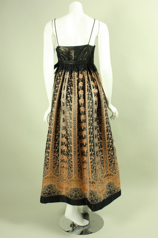 6d970ec1b1bc Vintage 1960's Brocade Gown with Empire Waistline