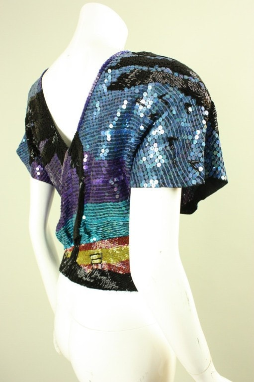 1980's Blouse Neil Bieff Beaded & Sequined Vintage - regenerationvintageclothing