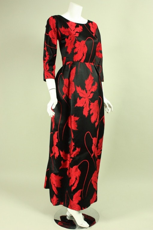 Jean Louis Gown 1960's Red & Black Satin Vintage - regenerationvintageclothing