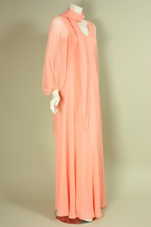 Vintage 1970's Stavropoulos Chiffon Gown