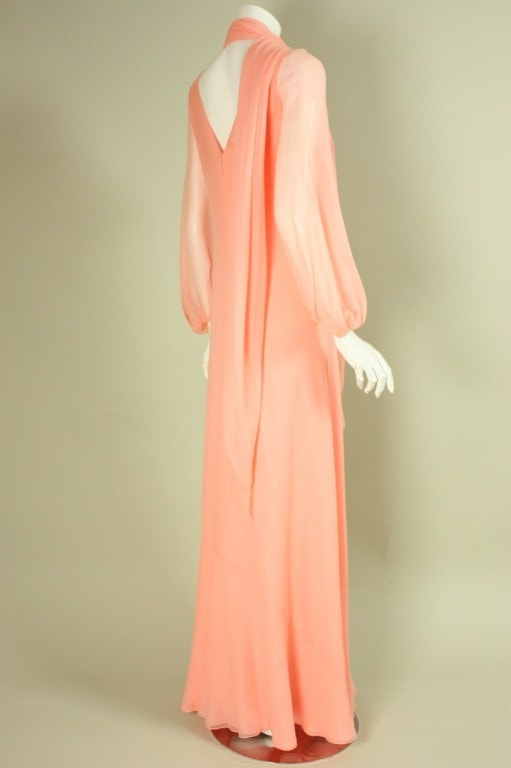 Stavropoulos Gown 1970's Chiffon Vintage - regenerationvintageclothing