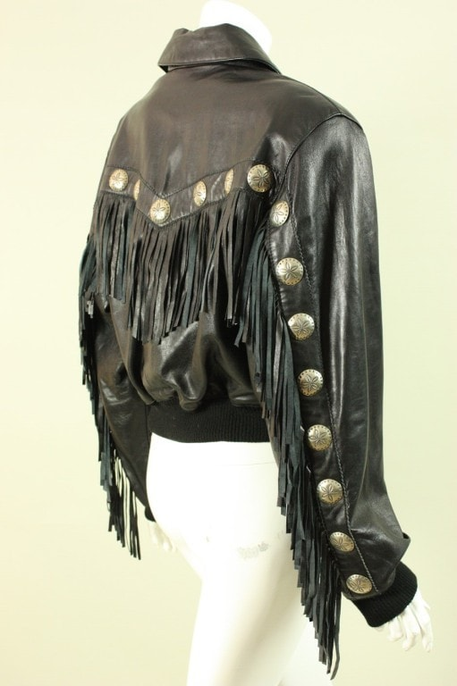 North Beach Jacket 1980's Fringed Leather Vintage - regenerationvintageclothing