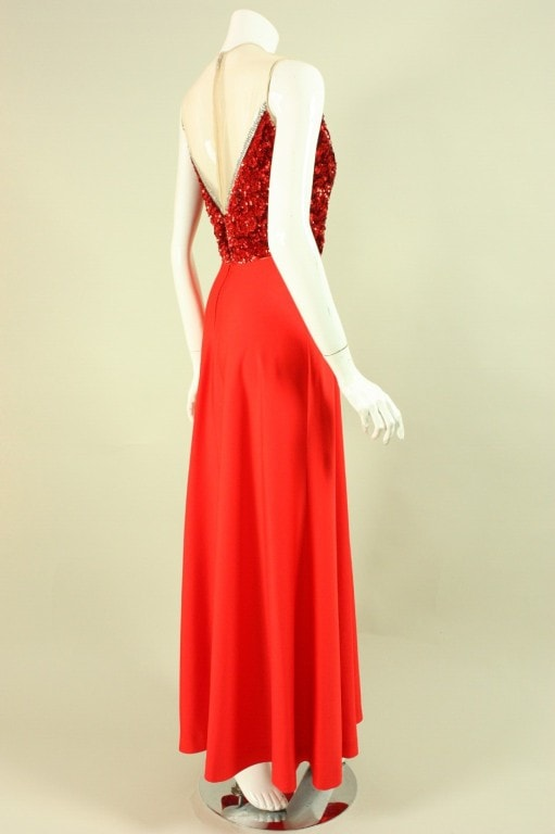 Vintage 1970's Mr. Blackwell Red Sequined Illusion Gown