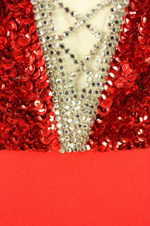 Mr. Blackwell Gown 1970's Red Sequined Illusion Vintage - regenerationvintageclothing